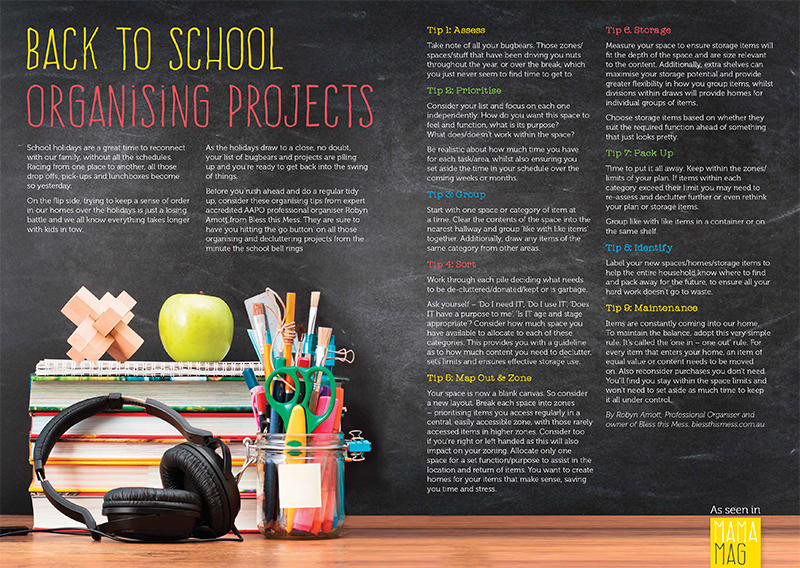 back to school organising projects