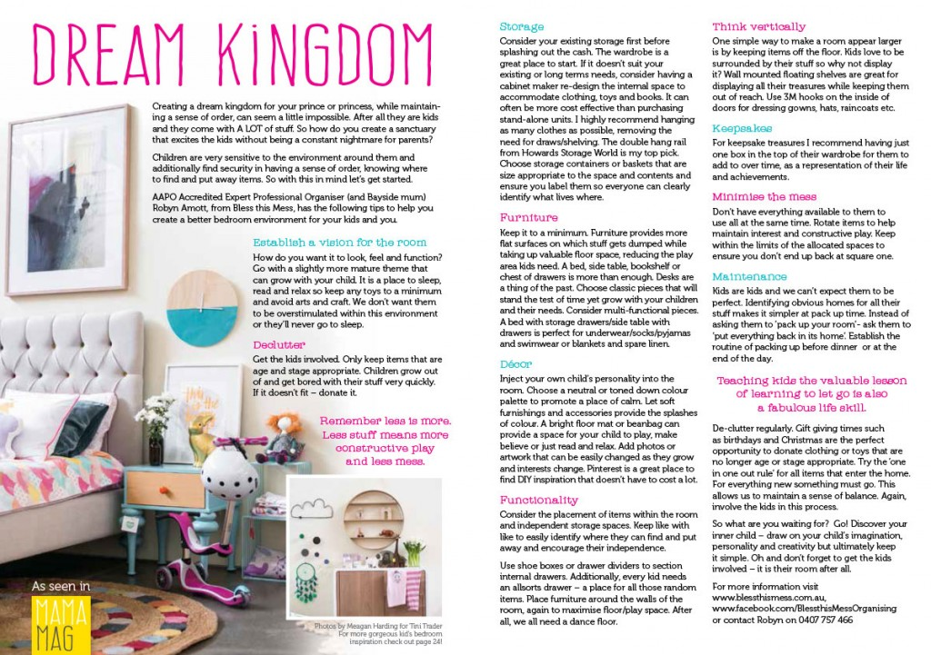 organising a kids play area article in mama mag