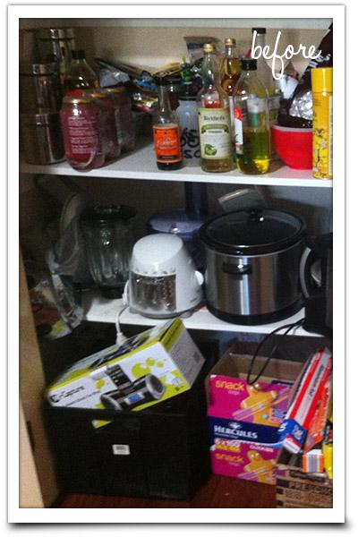 Untidy kitchen cupboard