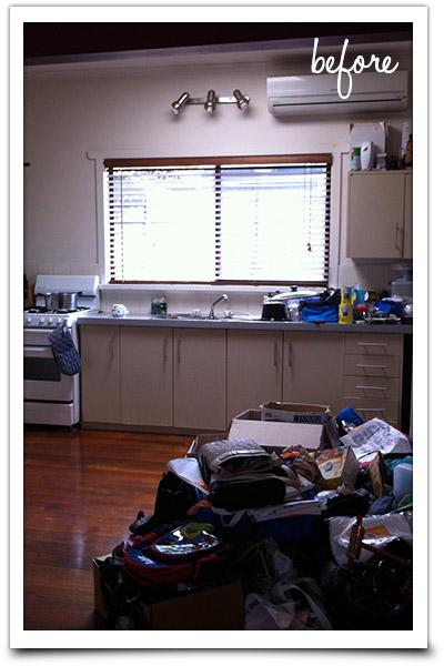 Messy kitchen area junk storage