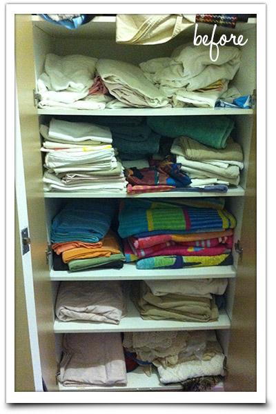 Messy linen cupboard shelves