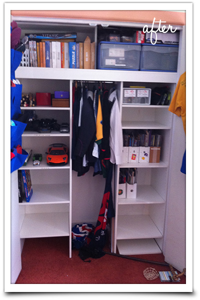 Declutter kids wardrobe cupboard