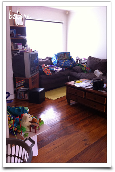 Messy lounge area needing attention